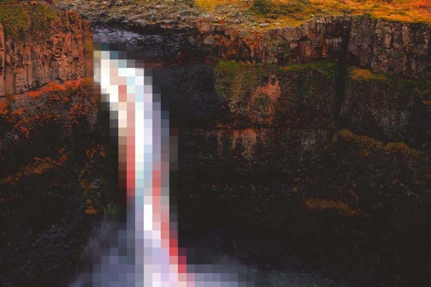 waterfall-pixelated
